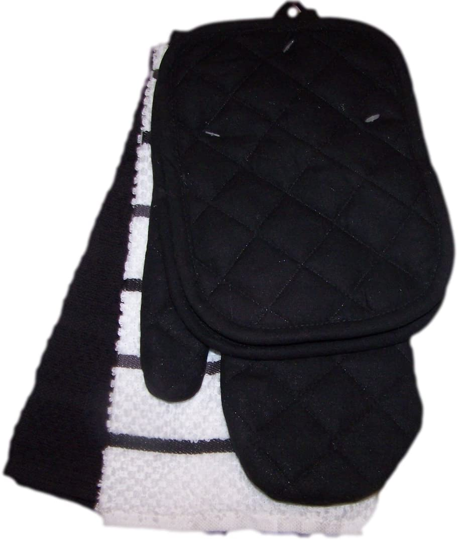 Black and White Kitchen Towel Set 5 Piece- Towels, Pot Holders, Oven Mitt