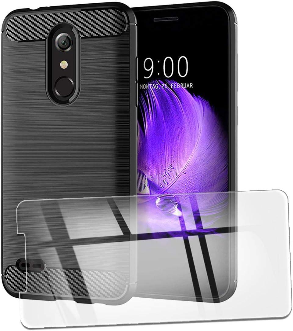 QFSM Funda + Cristal Templado para LG K11 Silicona Carcasa TPU Anti-Knock Fibra de Carbono Cover Case, HD Película Protectora Cristal Templado Pantalla Glass: Amazon.es: Electrónica