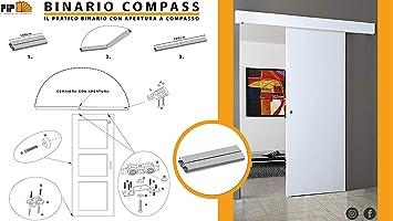 Riel kit para puerta corredera 200 cm carga 120 kg COMPASS: Amazon.es: Bricolaje y herramientas