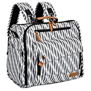 ALLCAMP Zebra Diaper Bag Backpack, Large, Support baby Stroller, Converted into a Tote Bag, Black and White