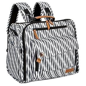 ALLCAMP Zebra Diaper Bag/Multi-Functional Convertible Diaper Backpack Messenger Bag,Large Capacity, Waterproof and…