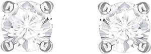 Swarovski Pendientes Attract Round, blanco, Baño de Rodio