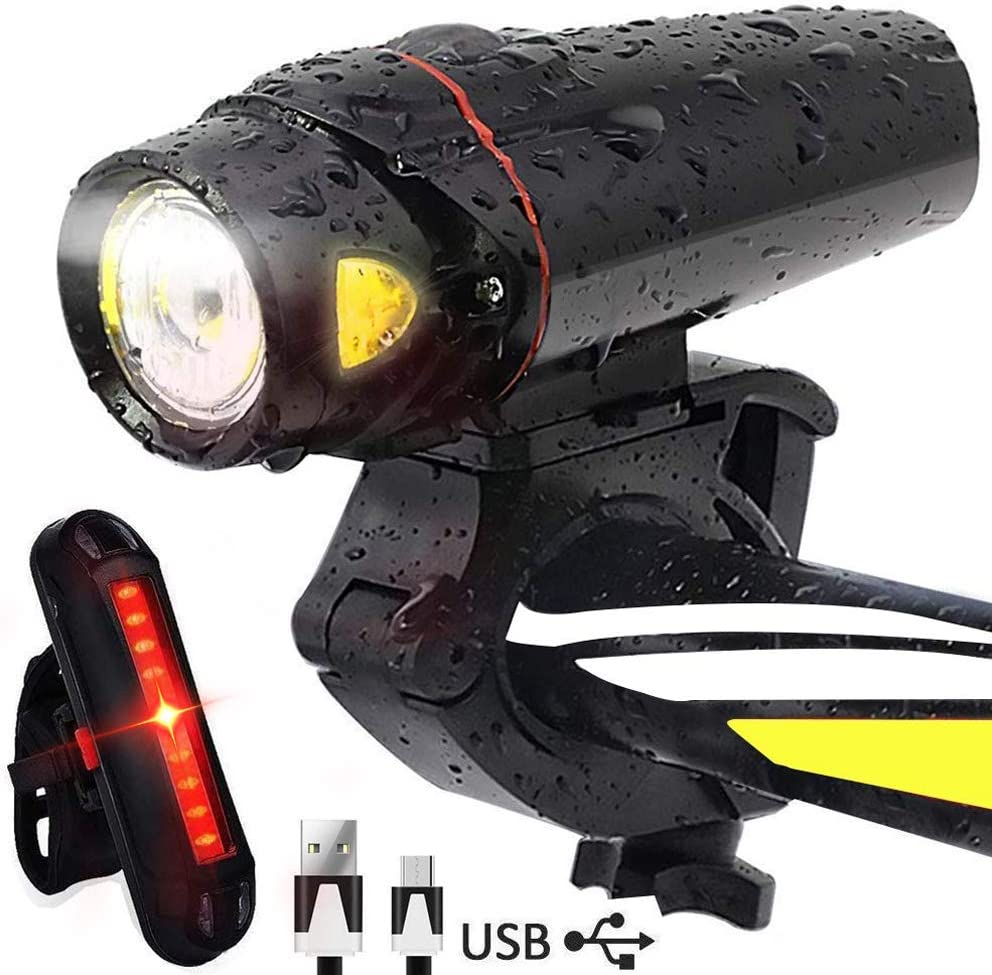 Karrong Bike Light Set USB Rechargeable Waterproof LED Headlight and Taillight Easy to Install Quick Release for All Bikes Road Cycling Flashlight