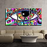 wall26 3 Piece Canvas Wall Art - Original Abstract Digital Painting of Human Eye, Colorful Composition - Modern Home Decor Stretched and Framed Ready to Hang - 16''x24''x3 Panels