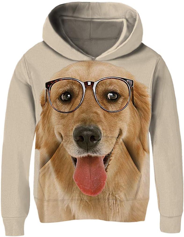 3-14 Years RAISEVERN Kids Fleece Hoodie Casual Funny Child Hooded Sweatshirts Cute Pullover Hoody for Boys Girls