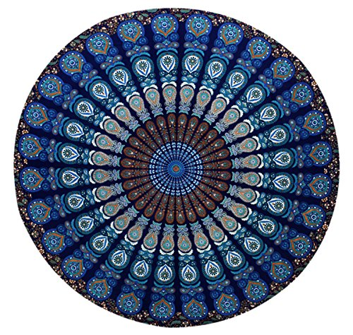 GLOBUS CHOICE INC.. Blue Tapestry Round Cotton Indian Tapestry Mandala Roundies Beach Throw Indian Round Blue Mandala Tapestry Yoga Mat Picnic Mat Table Throw Hippy Boho Gypsy
