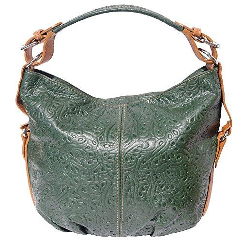 Florence Leather Market Bolso al hombro de Piel para mujer Grande Verde scuro-Cuoio