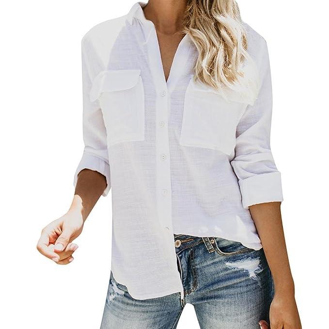 Blusa de Mujer BaZhaHei Mujer de Camisas de Manga Larga de Lino de algodón de Lino