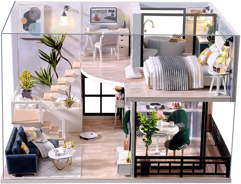 CUTEBEE DIY Dollhouse Miniature with Furniture, DIY Wooden Dollhouse Kit Plus Dust Proof and Music Movement, Creative Room for Valentine's Day Gift Idea(Cozy Time)