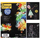 Black Construction Sketch Paper Pad - 9''x12''- Drawing Notebook for Adults & Kids with Markers, Glitter, Neon, Metallic Pen, Graphite Pencils