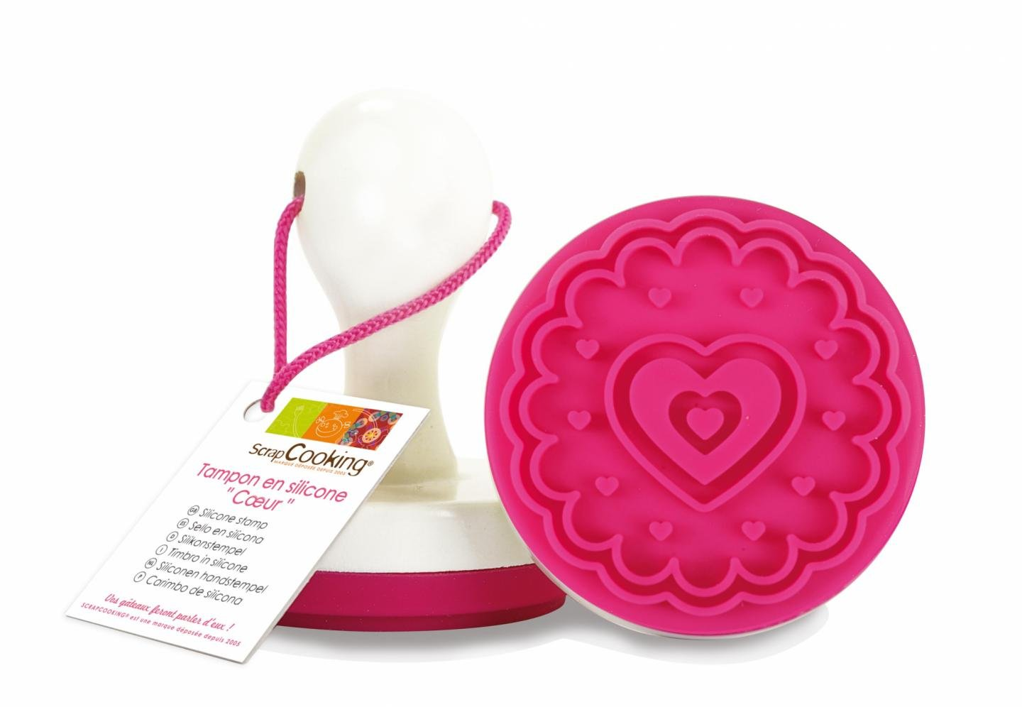 ScrapCooking Heart Silicone Stamp with Handle for Cookies and Fondant 3700392451349