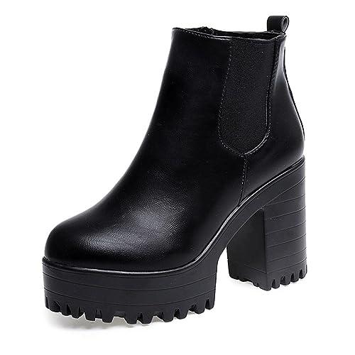 6ce564d7 Zapatos de mujer Botines de mujer Talón cuadrado de mujer Ankle Botas Mujer  Otoño invierno Corto grueso Moda Vendimia Plataformas Cuero Zapatos LMMVP:  ...