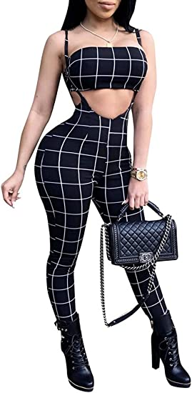 Women Spaghetti Strap Plaid Wide Leg Long One Piece Jumpsuit Romper Overall Belt