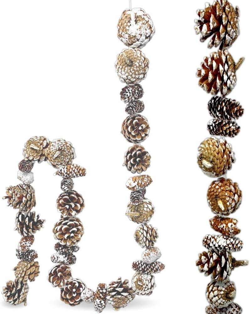 BANBERRY DESIGNS Garland - Woodsy Rustic Pine Cone Ornament Farmhouse Fall Christmas Home Décor- 45 Inches Long