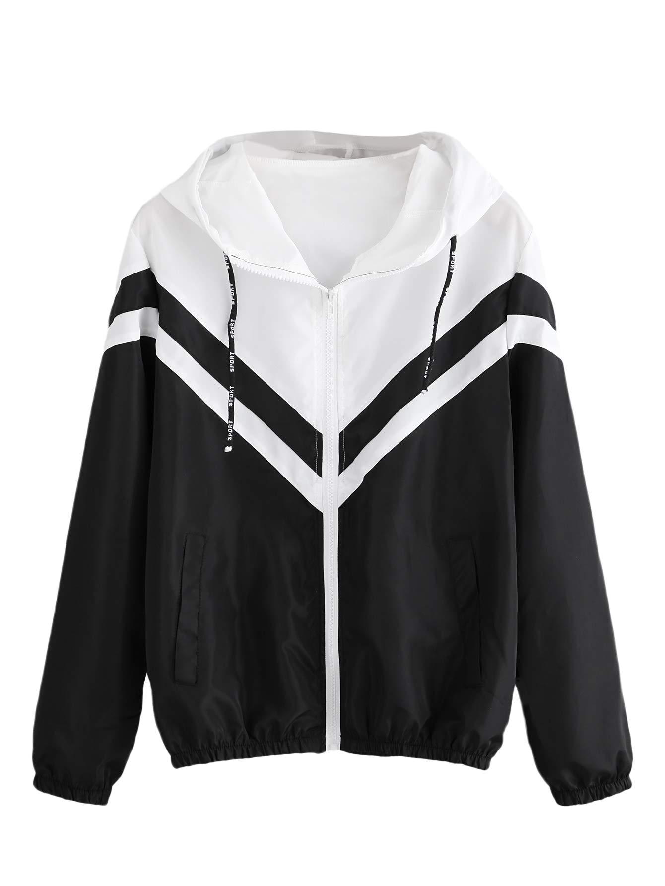 Milumia Women's Color Block Drawstring Hooded Zip Up Sports Jacket Windproof Windbreaker Largel Black-2