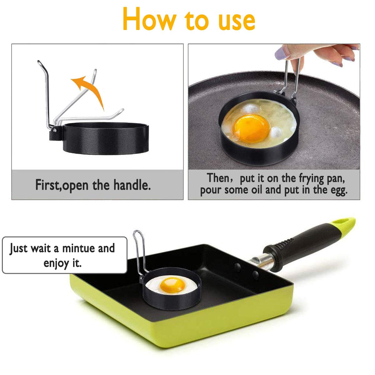 Egg Maker Molds 1 PCS Stainless Steel Fried Egg Molds Non Stick Mold Kitchen Cooking Tool for Frying McMuffin or Shaping Eggs Egg Poacher