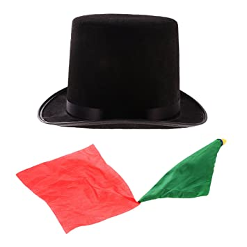 2fd23ea4eaecb MagiDeal Sombrero Negro de Mago Sombrero Jazz Halloween + Bufanda de Trucos  Magia Diversión Cumpleaños  Amazon.es  Juguetes y juegos