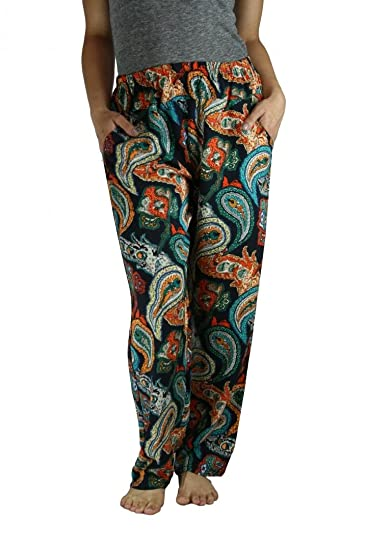 f97722fa85 Simonetta 100% Cotton Print Beach Cover Up Elastic Linen Style Pants -  Shade Type 001 - Waist One Size at Amazon Women's Clothing store: