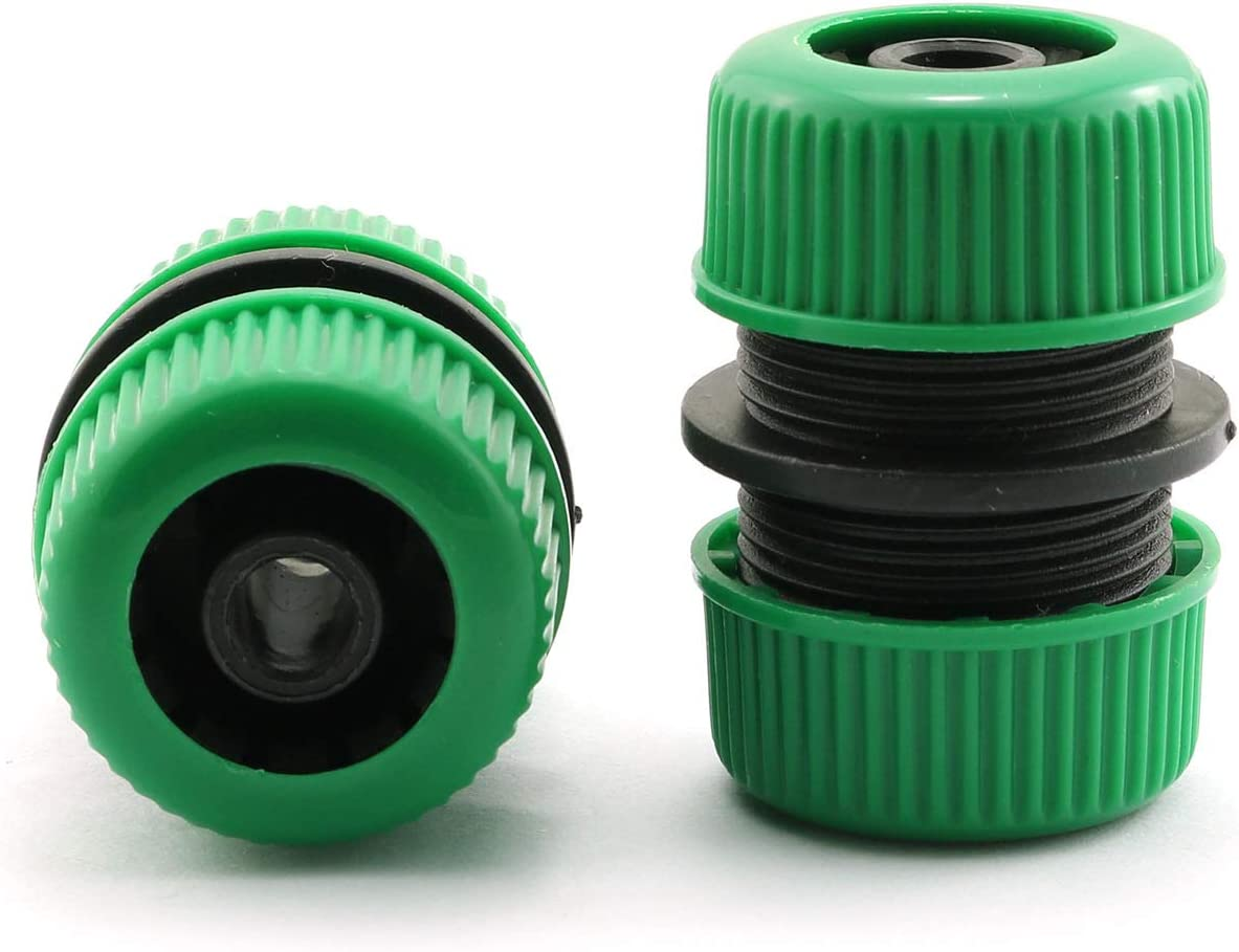 PZRT 2pcs Garden Water Hose Connector Green Plastic Quick Connect Fittings Joiner Mender Extend Repair Connector Adapter Tool 1/2 Inch Inner Diameter