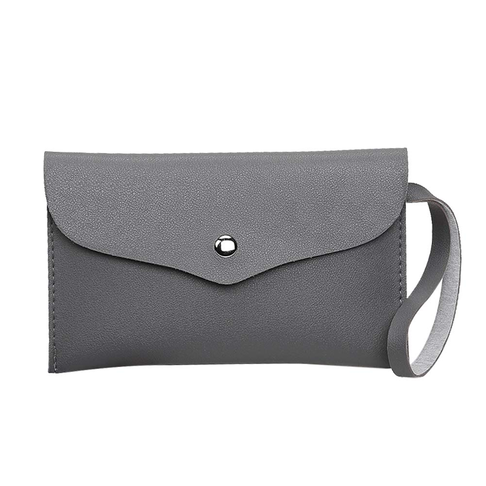 Dds5391 Casual Fashion Faux Leather Buckle Envelope Handbag Shopping Women Clutch Bag Pouch - Grey