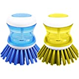 DishPanSoap | 2 Pcs Soap Dispensing Dish Palm Brush with Powerful Nylon Bristles for Kitchen Sink Pot Bowl Pan, Scrubber Cleaning Gadget Tool, Dishwasher Safe, 3 x 2.5 inch, Color may vary