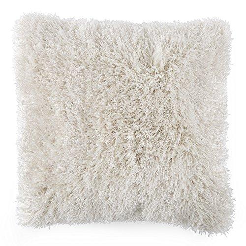 Lavish Home Oversized Floor or Throw Pillow Square Luxury Plush- Shag Faux Fur Glam Decor Cushion for Bedroom Living Room or Dorm (Beige)