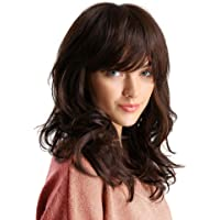 Synthetic Curly Hair Wig Shoulder Length Brown Hair Wigs for Women