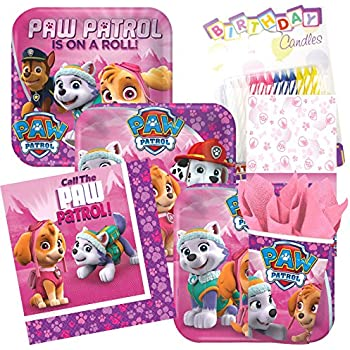 Pink Paw Patrol Theme Party Supplies Pack Serves 8 Plates Napkins Cups And Tablecloth