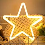 Star Neon Light Signs BeMoment Warm White Neon Wall Light up Sign Art Decor for Home Kids Bedroom Birthday Party,USB or Batte