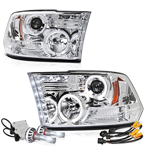 Vipmotoz Led Halo Ring Chrome Projector Headlight Lamp Assembly For 2009 2018 Dodge Ram 1500 2500 3500 Built In Csp Led Low Beam Driver Passenger Side