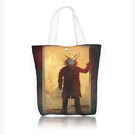 Amazon Com Canvas Tote Bag Man With Rabbit Mask At The Door