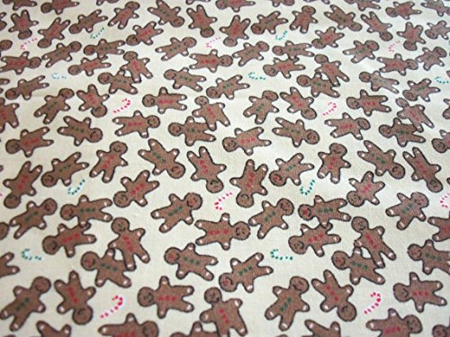 Gingerbread Boys Fabric Very Small Print Great Doll Clothes Christmas Fat Quarter New BTFQ
