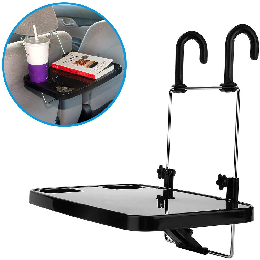 ifory Multi-Functional Tablet Holder, Portable Car Vehicle Seat Back Mount Tray, Foldable Hanging Laptop Desk and Car Dining Food Drink Desk Cup Holder