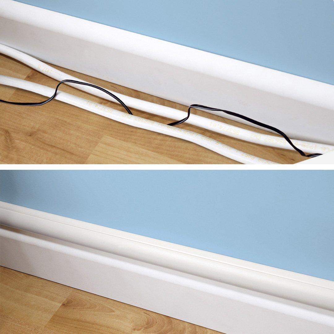 Bianco Soluzione Ideale per la Gestione di Cavi e Fili Elettrici D-Line Mini Canalina Passacavi da 2 Metri x 15 mm 30 mm H Canalina per Cavi Autoadesiva L 2 x 1 Metri di Lunghezza