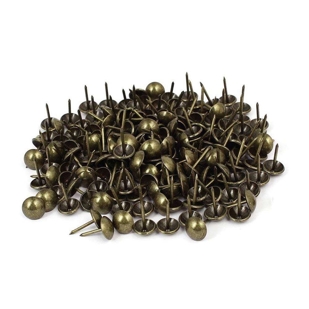Sydien 200 Pcs Upholstery Nail Thumb Tack Push Pins Furniture Tacks Bronze Tone(16mmx11mm)