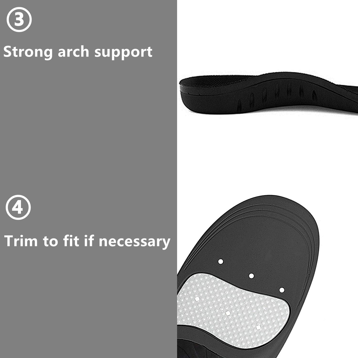 Hyperspace Sports Insole for Gel High Arch Support Shoe Inserts Plantar Fasciitis Orthotic Inserts Maximum Comfort and Shock Absorption for Flat Feet and Injury Prevention (Black XL) by Hyperspace (Image #5)