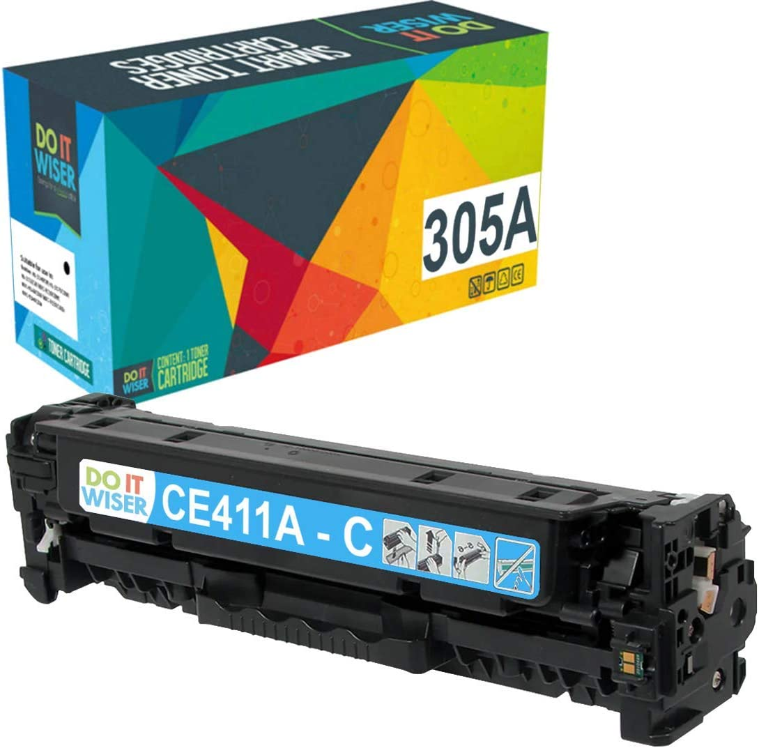 Do it Wiser Remanufactured Toner Cartridge Replacement for HP 305A 305X CE411A for use in HP Laserjet Pro M451nw,M451dn, M451dw, MFP M475dn, MFP M475dw, M375nw (Cyan)