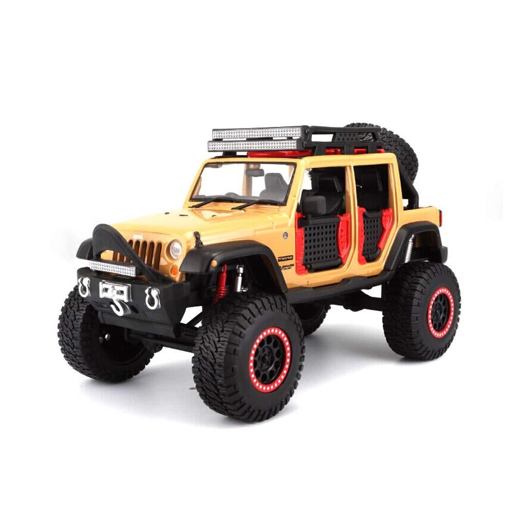 HXGL-Modello d'auto Ornamenti di Modello di Auto in Lega di Auto Sportive Jeep Wrangler Regalo di Compleanno a Quattro Porte Cross-Country 1 24 ( Colore   Albicocca )