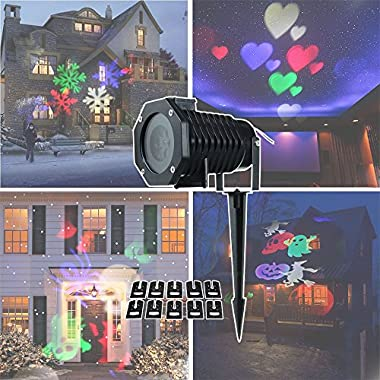 Christmas Projector Lights Moving White Snowflake LED Landscape Spotlights Light Outdoor/Indoor Decor Stage Projection Lamp for Halloween Christmas Party Holiday Home Decoration Garden Tree Wall