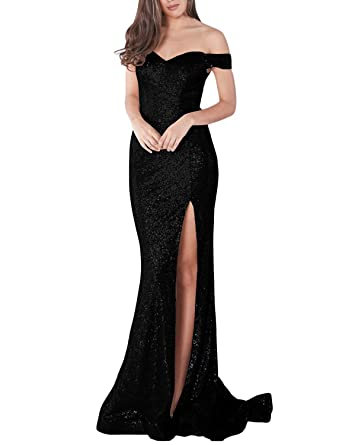 58886610 LL Bridal Women's Sequined Mermaid Prom Dresses Long Off Shoulder Slit Side  Formal Party Evening Gown