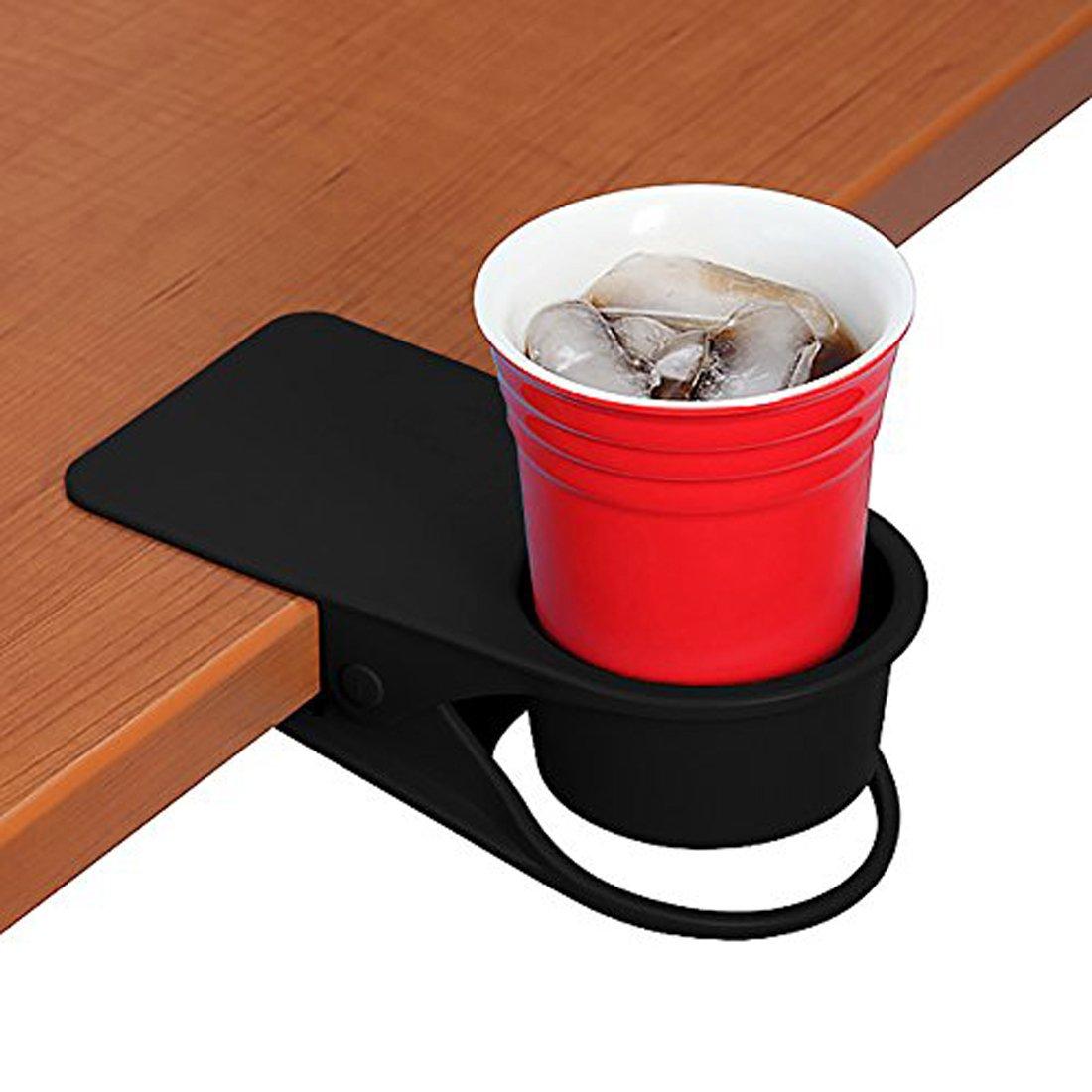 Drinking Cup Holder Clip, Home Office Table Desk Side Huge Clip Water Drink Beverage Soda Coffee Mug Holder Cup Saucer Clip Design, Black