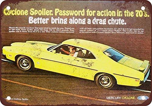 Cyclone Spoiler (1970 Mercury Cyclone Spoiler Vintage Look Reproduction Metal Signs 12X16)