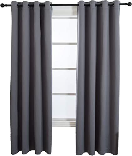LOSPRING Room Darkening Dark Gray Curtain Thermal Insulated Grommet Drapes 2 Panels Blackout Curtains for Bedroom Living Room W52xL95 inch-Dark Grey