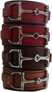 product image for Saving Shepherd Equestrian Horse Bit Leather Wide Cuff Bracelet Silver Hardware