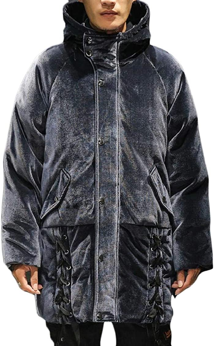 XQS Mens Mid Long Length Padded Loose Fit Thick Velvet Stylish Down Jacket Coat