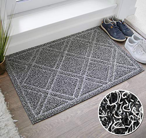 BrigHaus Large Indoor/Outdoor Doormat | 24 x 35 | Non Slip Heavy Duty Front Entrance Door Mat Rug, Outside Patio, Inside Entry Way, Catches Dirt Dust Snow & Mud - Black/White ()
