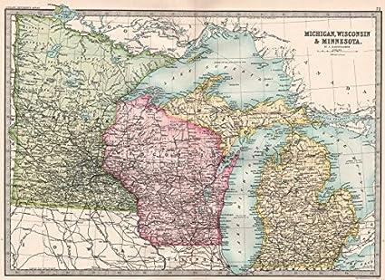 Amazon.com: MIDWESTERN USA. Michigan, Wisconsin & Minnesota ...