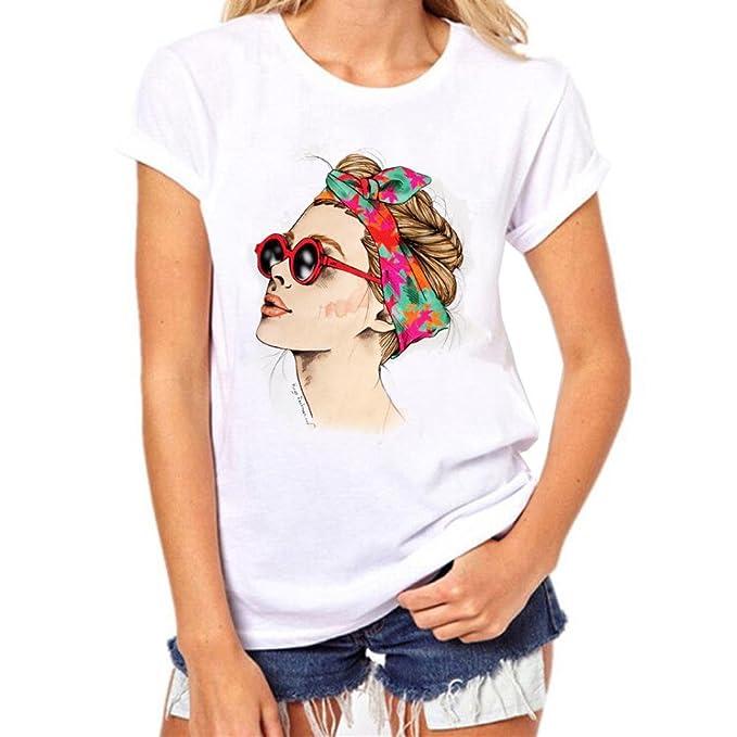 LILICAT® 2018 Moda Mujer Camiseta de Verano para Mujer Camiseta de Manga Larga con Estampado de niñas Camiseta de Manga Corta Blusas sin Mangas - Algodón: ...