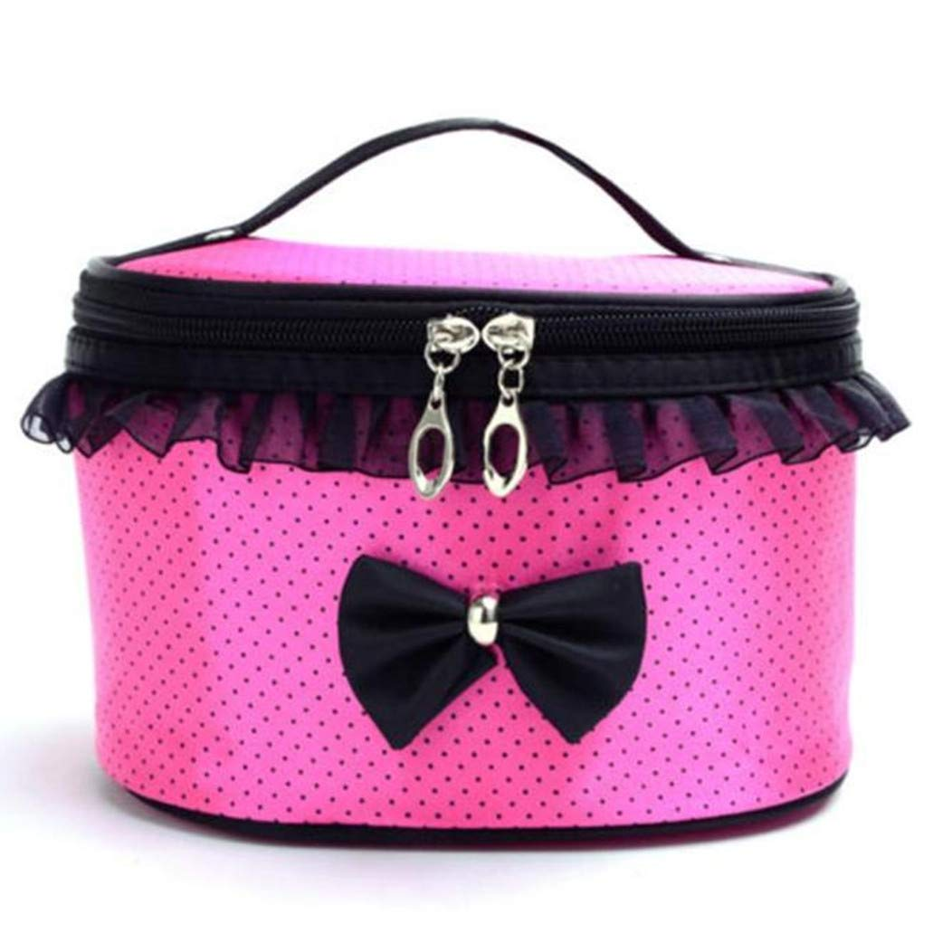 Cloudro Cosmetic Makeup Storage,Large Portable Zipper Travel Makeup Cosmetic Bag Organizer Holder Top Handle-Dot Print with Bow Lace Decor (Hot Pink)