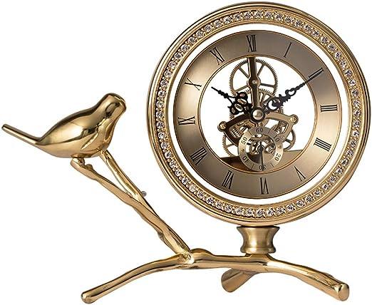 GYKFY Creative Fashion Copper Bird Shelf Clock Vintage Relojes de ...